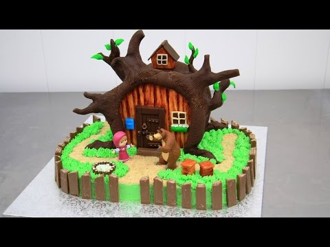 MASHA and the Bear Chocolate Cake - Decorating with Modeling Chocolate by CakesStepbyStep